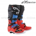 "Bottes TECH 7 ""Red Fluo Cyan Gray Black"" - ALPINESTAR"