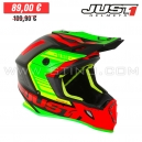 "Casque Cross J38 ""Blade"" Red/Lime/Black- JUST1"