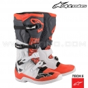 "Bottes TECH 5 ""White Gray Red Fluo"" - ALPINESTARS"